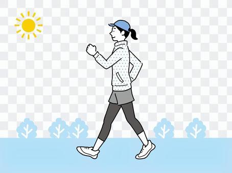一個女人為了身體健康而在外面散步