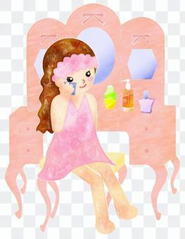 かわいい肌のお手入れ水彩画・鏡台と女性