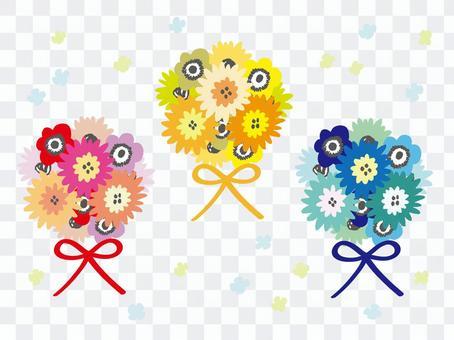 3色迷你花束