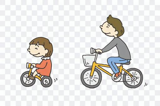 好朋友父母和孩子騎自行車的插圖