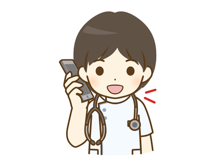 Young male nurse talking on the phone
