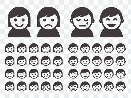 帶有各種表情的圖標