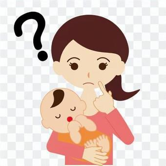 Mom holding baby with a hat face