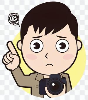 一個指向女攝影師(擔心)