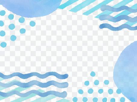 水彩帶,圓點和波浪線