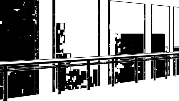 Corridor and building silhouette, white background, transparent background