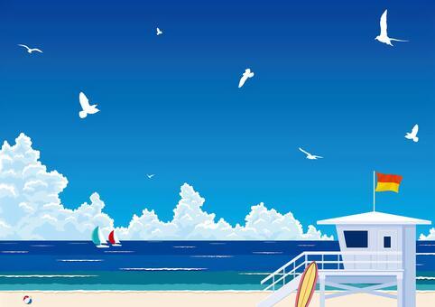 真夏の入道雲と青い海 ビーチリゾート