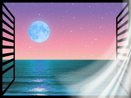 從海邊窗戶看到的藍色滿月