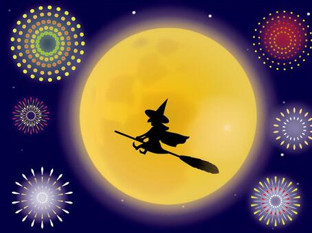 Fireworks, a witch and a moon