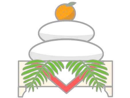 Kagami mochi ② (fern) -New Year's card material
