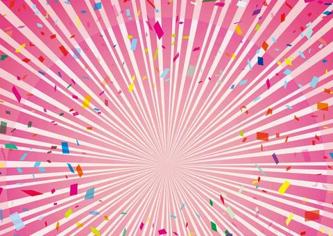 Frame pink radiation lines confetti flyer
