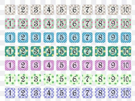 Dot pattern boxed numbers