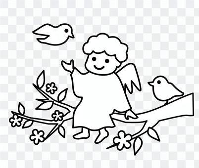 天使和小鳥