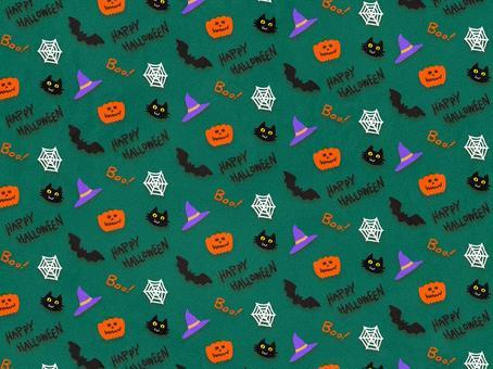 ハロウィン 総柄 包装紙 緑