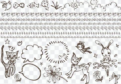 Line line Handwritten girly cute material set
