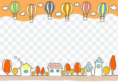 氣球飛行的鎮秋天的秋天