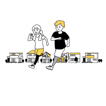 男人和女人一起在城市裡奔跑