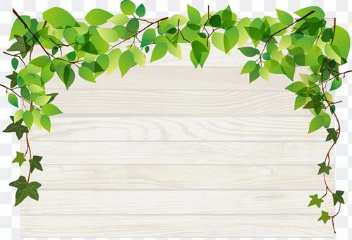 Fresh green and wooden board frame