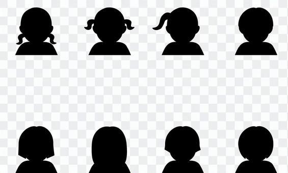 小女孩 U 剪影