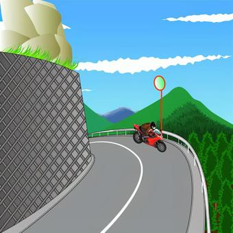 山道 峠 カーブ バイク