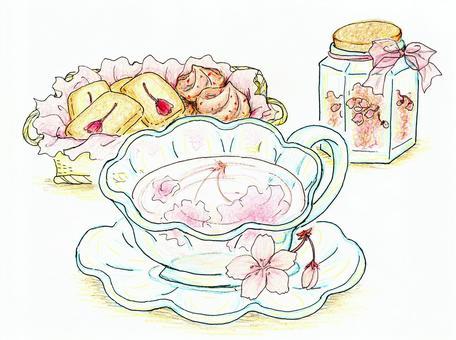 櫻花茶下午茶時間彩色鉛筆素描