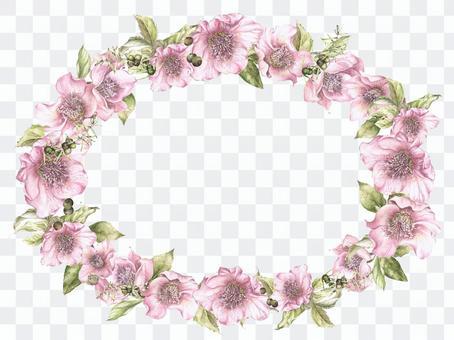 花框架 - 橢圓形的花框架