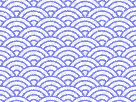 【蠟筆筆跡】青海波浪紋:紫色