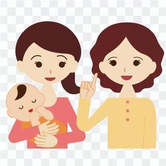 一個女人和她的寶寶和媽媽依偎在一起