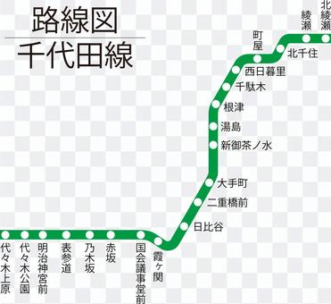 千代田線路線図-単純化