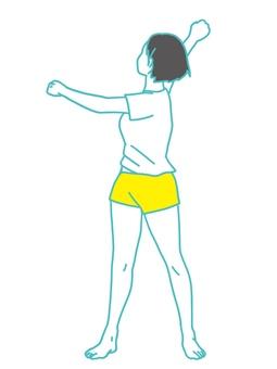 Radio calisthenics body twisting exercise illustration