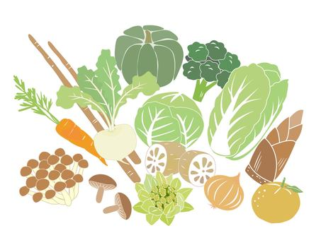 Winter vegetable set without background