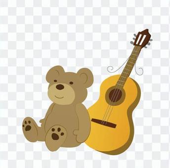 毛绒玩具和一个电吉他
