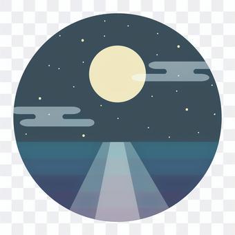 反射月光的海