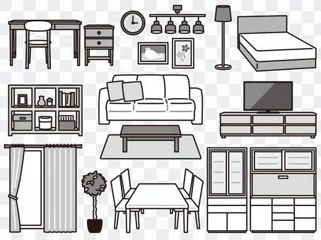 家具 インテリア雑貨 セット 白黒