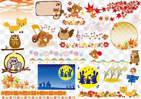 秋天的插圖圖集合動物