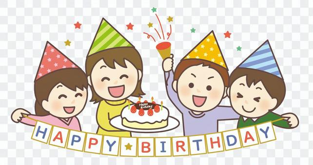 Children making a birthday party 01
