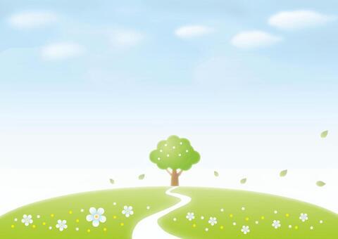 藍藍的天空和綠色的群山