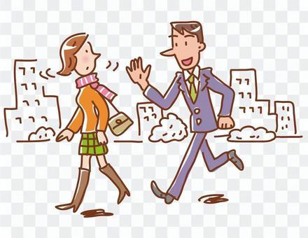 男子在街上招募婦女