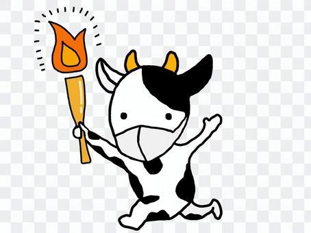 牛用火炬面具揮手奔跑