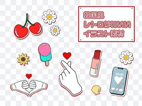 韓式複古可愛插畫素材套裝