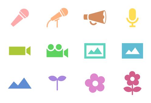Mike, video, plant pastel icon set