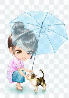 人和動物的插圖-撫摸貓的女人