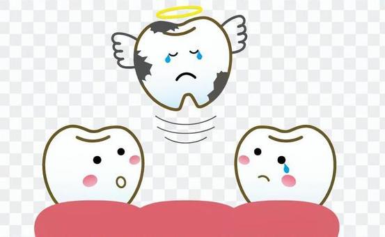 由於蛀牙而掉出的牙齒特徵