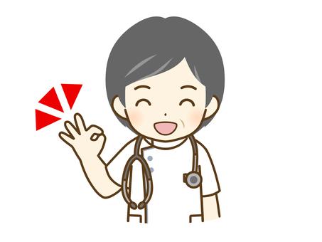 給一個好的標誌的中年男性護士