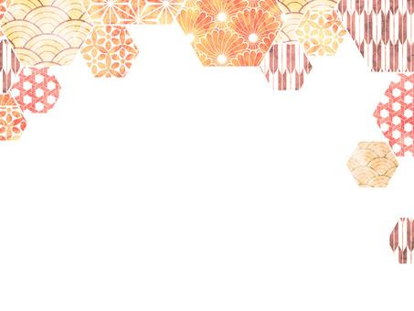 日本花紋壁紙橙色