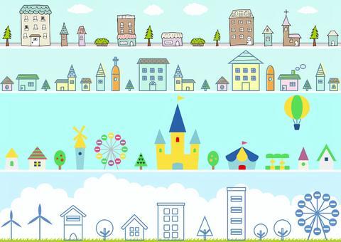 いろいろな街の風景セット