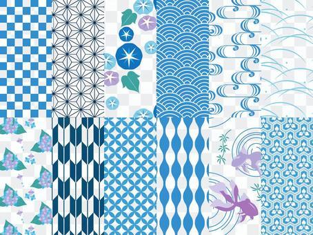 日式圖案 12 圖案設置 / 藍色 / 夏季 / 酷