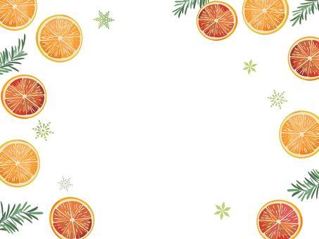 Christmas card orange and tree