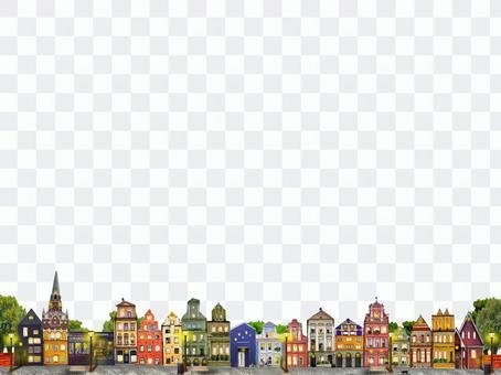 斯堪的納維亞可愛的城市景觀裝飾格線橫幅