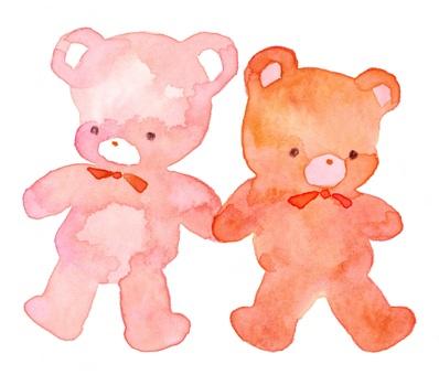 兩對泰迪熊透明水彩手繪